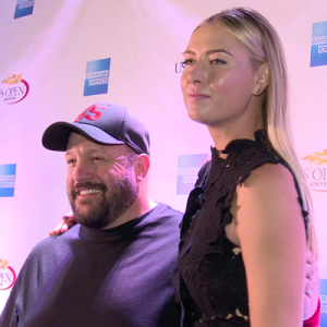 MARIA SHARAPOVA & KEVIN JAMES CELEBRATE 2015 US OPEN WITH HOLOGRAPHIC RALLY ON THE RIVER!